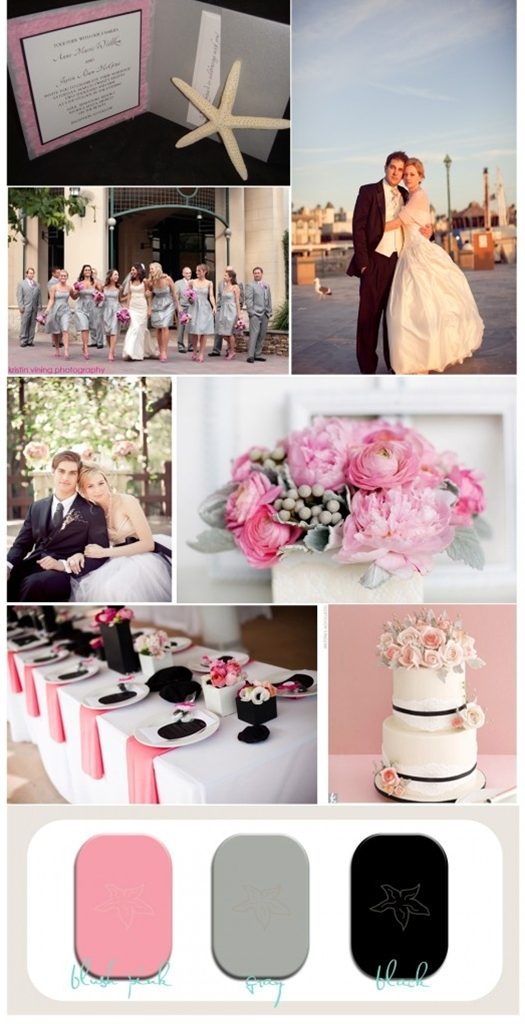Wedding Inspiration Board for Blush Pink, Gray and Black Wedding