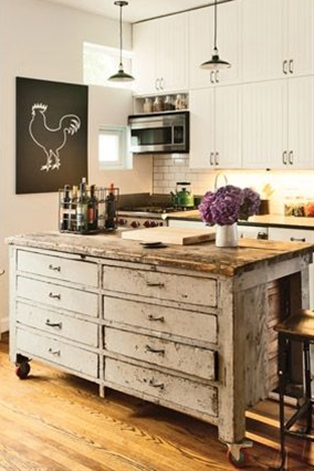 By repurposing a cool piece of vintage furniture, like this armoire, you can make a one-of-a-kind kitchen island and save the antique piece from a landfill.