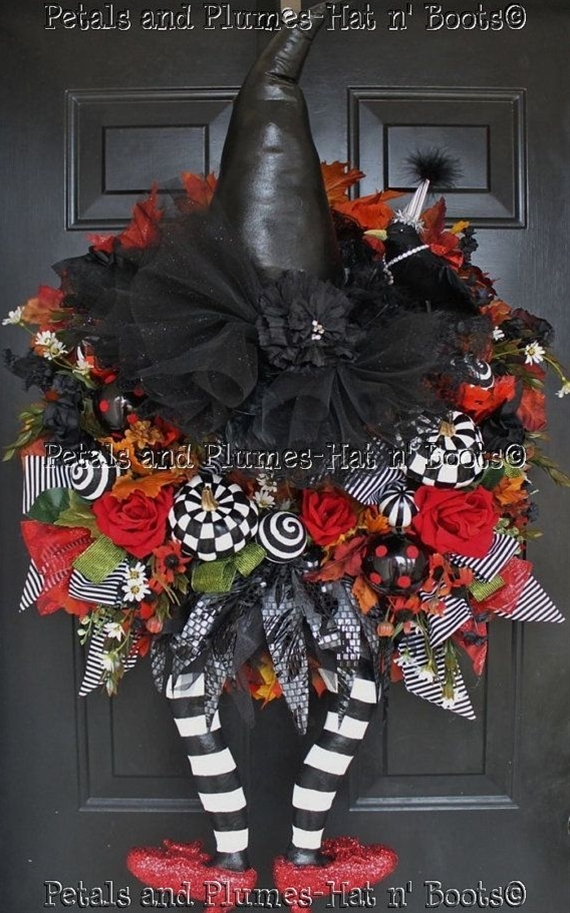 "Halloween Witch Wreath   -                                      ""WiCkEd WiTcH w/her Ruby Red Slippers""   Follow us on Facebook: https://www.facebook.com/petalsnplumes"