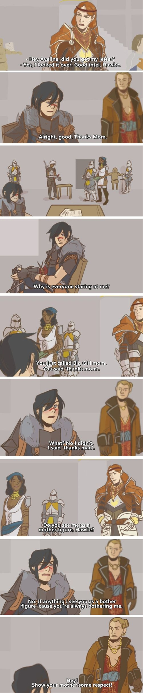 "Aveline, ""Soccer Mom of Kirkwall"" strikes again."