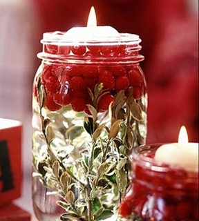 Mason Jar + Mistletoe + Cranberries + Floating Candle