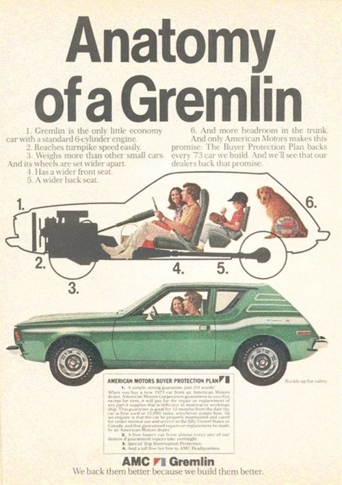 "Ah - the early days of the ""Mirth Mobile"" - 1973 Gremlin cars advertisement."