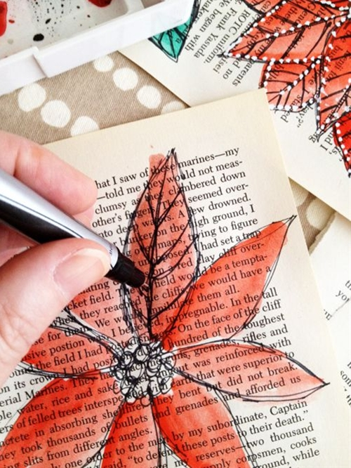 """Watercolor on book pages -- As strange as this seems for someone like me who isn't necessarily artistically gifted in this way, I really like the idea of doing this. Would be really easy to find a random book at Goodwill on the cheap and use it like a """"practice"""" art journal."""