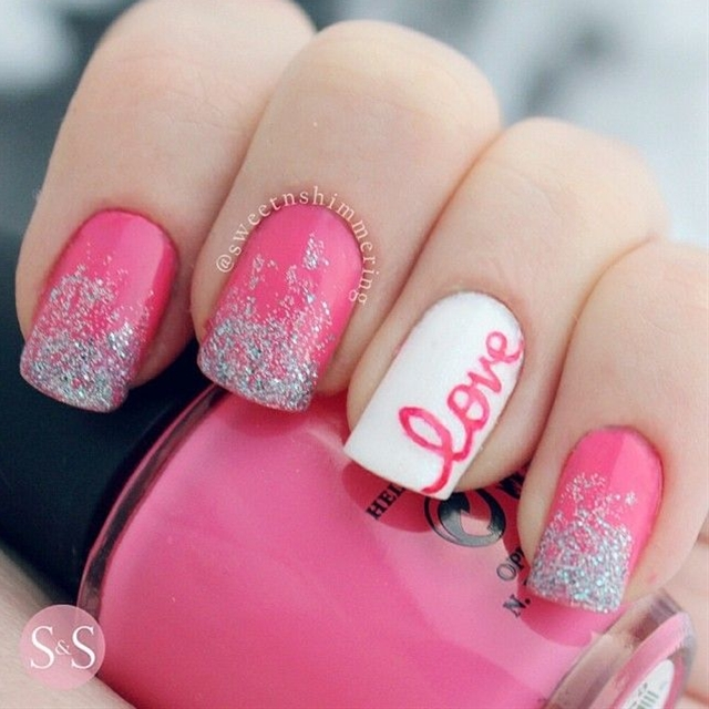 Valentine's day Nail art. Nail design. by sweetnshimmering love.
