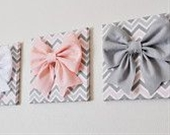 "SET OF THREE Wall Decor -Large Gray Pink and White Bows on Pink and Gray Chevron 12 x12"" Canvases Wall Art- Baby Nursery Wall Decor- - bedbuggs"