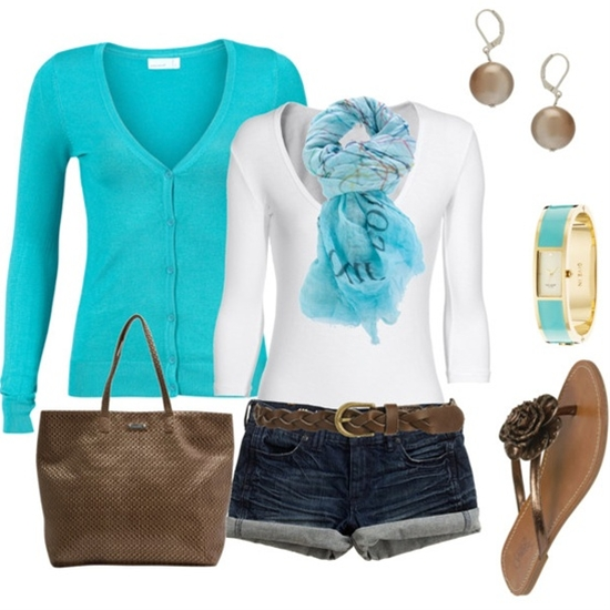 Turquoise and brown, perfect for spring.