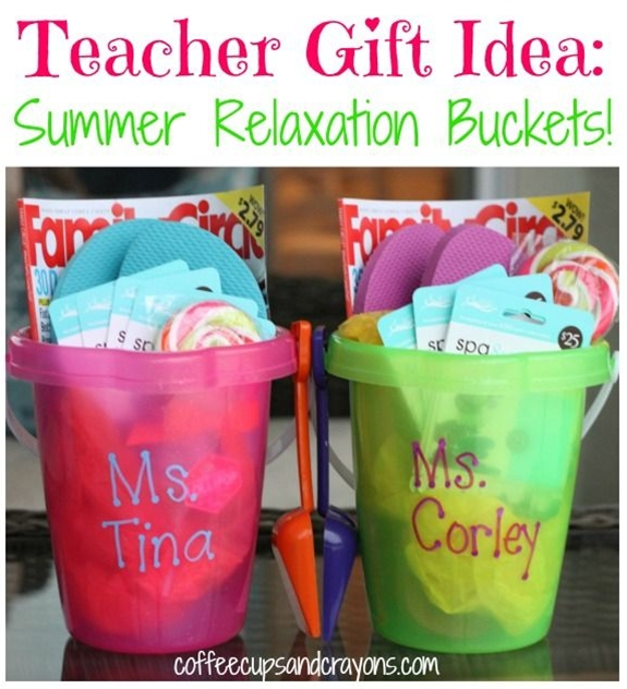 Easy, cute and can be customized to fit any budget!\n\n The flip flops double as a card/autograph book!  Kids can use Sharpies to sign their name or draw a little picture on the flip flops so the teachers end up with a personalized pair that they can wear or save as a keepsake.