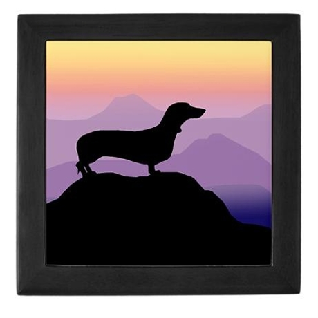 Dachshund dog purple mt. Keepsake Box