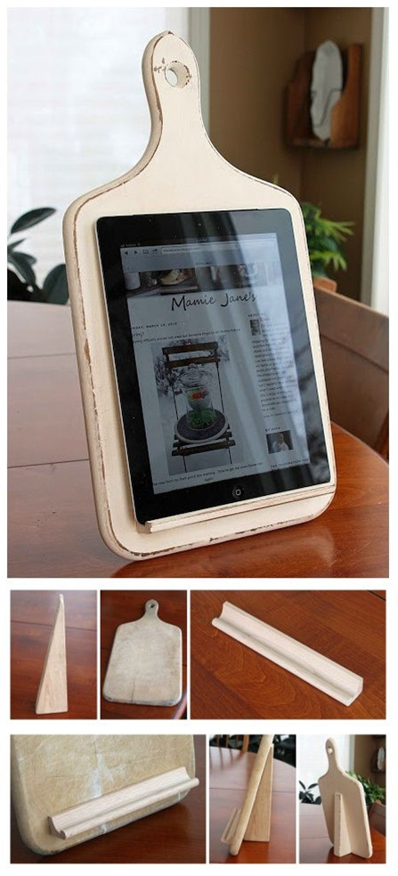 Cutting board + Scrabble tile holder = perfect kitchen iPad stand