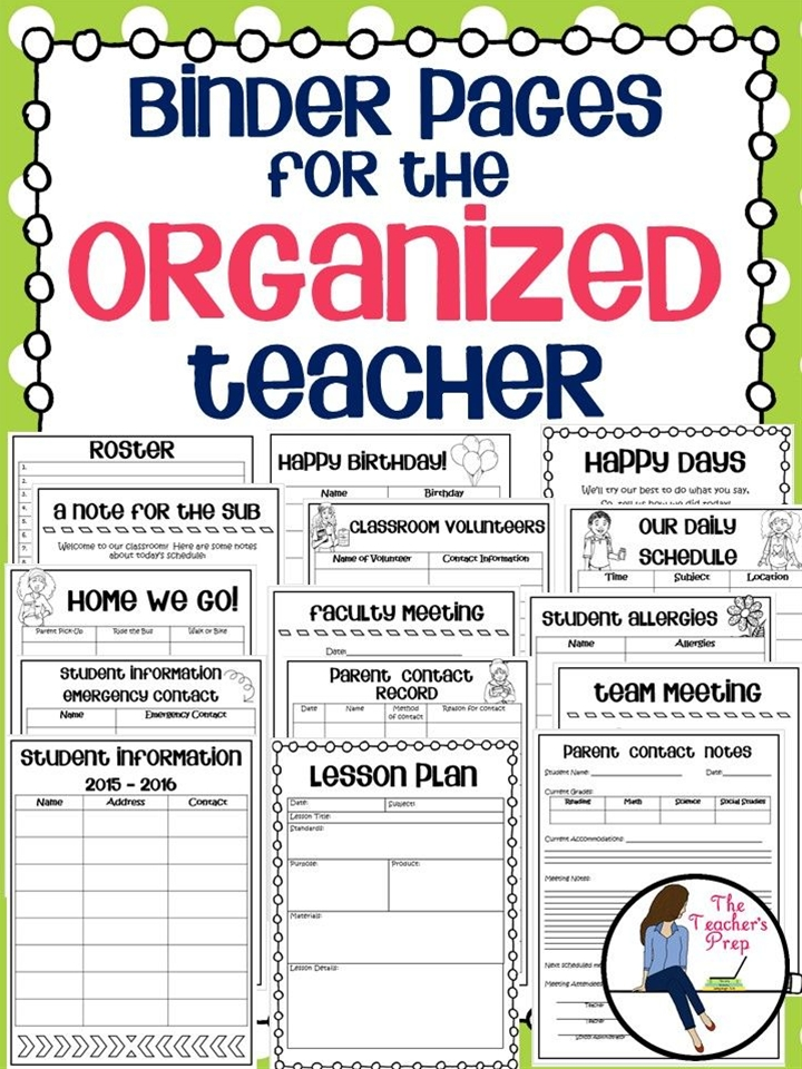 Keep your teacher binder organized with these 15 pages for classroom use!