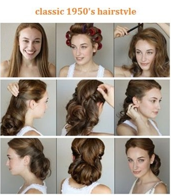 1. start this look by adding some mouse to wet hair and blow dry, 2. set hair in velcro rollers,  3. tease hair to create volume,  4. smooth out hair and bring sides up and twist,  5. secure with bobby pins,  6. brush curls inward to enhance waves,  7. pins the waves towards the neck,  8. set with hair spray.