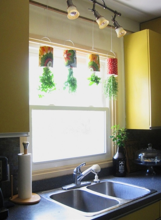 Such a cute idea.  Hanging Herb garden.