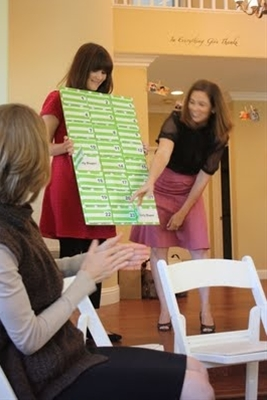 Cute baby shower game. Memory type with coordinating candy as prizes.