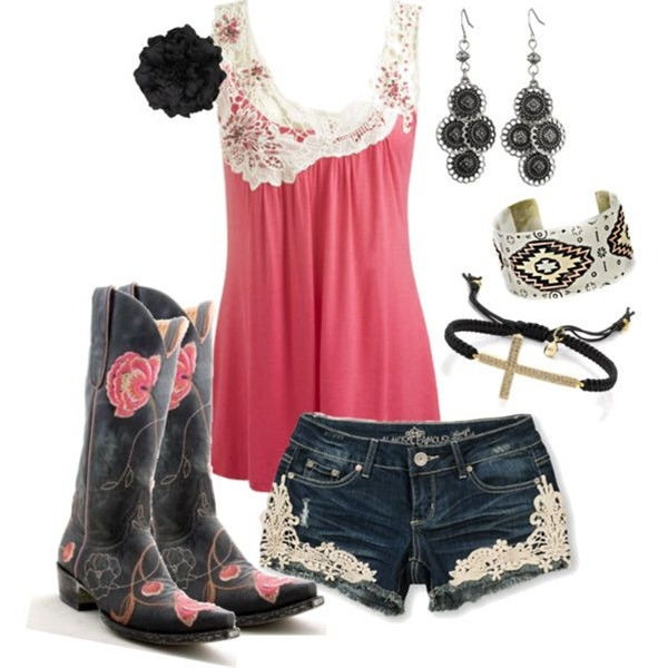 Love the cowgirl boots and top but I'd wear a crocheted lace shrug and jeans, would be so cute for a summer night out boot scootin'!