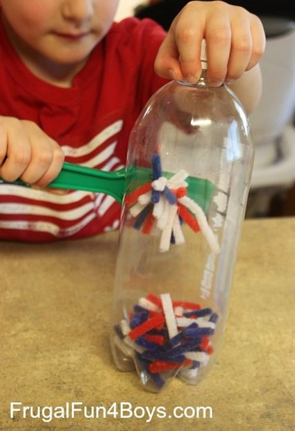This idea is so totally all over Pinterest, so this is definitely not a new concept.  But this project is so easy to set up, and fun for little ones to explore...