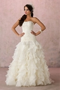 Organza Ivory Strapless Dropped Waist Wedding Dresses Corset Back   $246.00