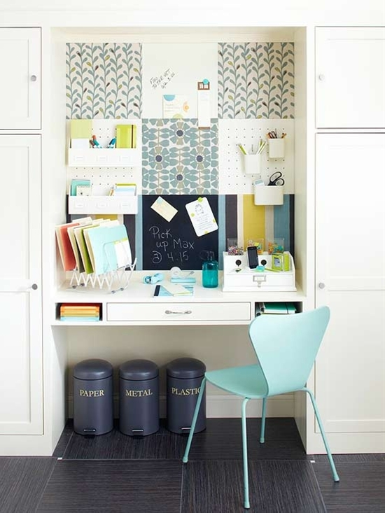 A message center at the heart of the home is a quick and easy way to sync everyone's busy schedules. This station was made from a patchwork of magnet, dry-erase, cork, and pegboard squares on the wall behind the built-in desktop.