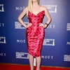 Elle Fanning Wears Vivienne Westwood Squiggle Print Dress at Hollywood Foreign Press Event
