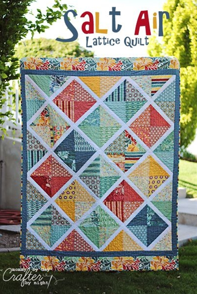 Mommy by day Crafter by night: Salt Air Lattice Quilt  BEAUTIFUL BRIGHT quilt with instructions!