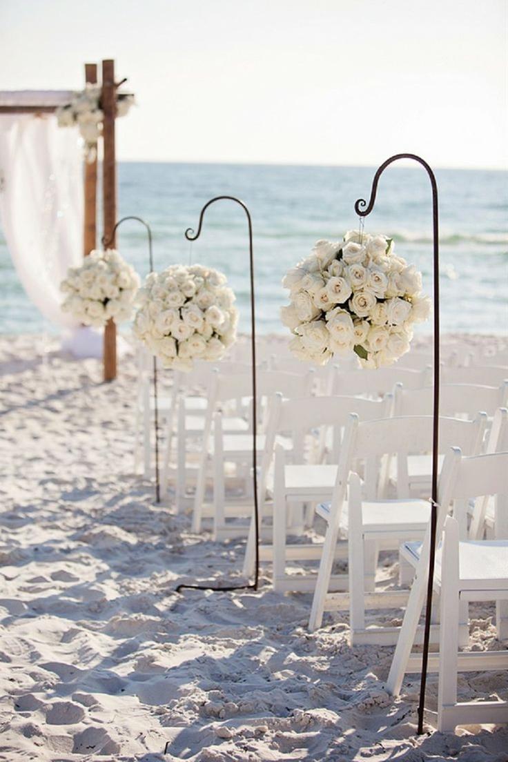 Roses along the wedding aisle on the beach