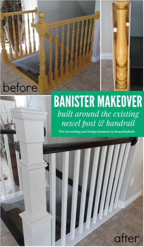 Beautiful stair railing renovation using the existing newel post and handrail | TDA Decorating and Design featured on @Remodelaholic #makeover #staircase