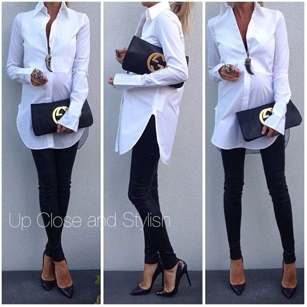 """Céline shirt, Alice_Olivia leather pants, Louboutin """"Pigalle Spotlight"""" 120mm, Gucci clutch and Lanvin necklace."""