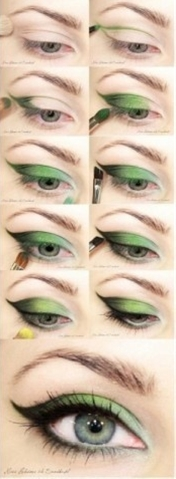 green eyeshadow.
