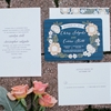 Navy and Peach Garden Wedding