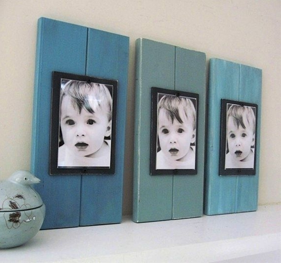 Use scrap wood, and paint in different shades, staying in the same color family.