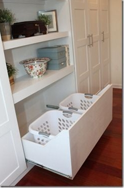 built in laundry basket drawers - great in a bathroom or closet