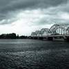 Railway Bridge before thunderstorm in Riga, Latvia. by Ronalds...