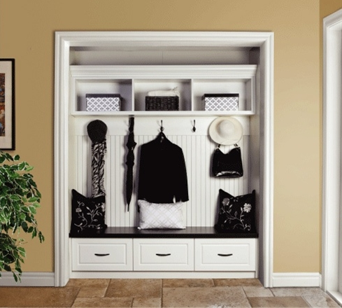Entry-way organization - remove your closet doors.
