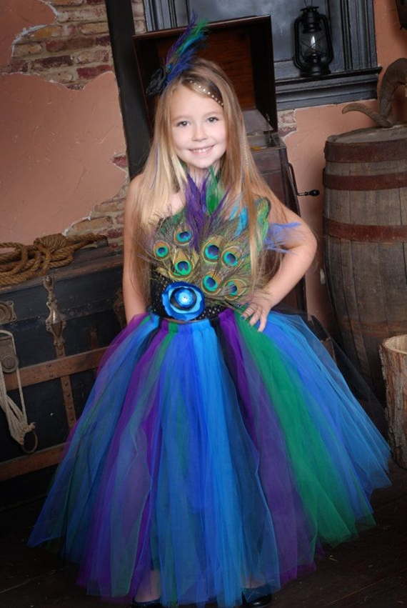 This beatiful tutu dress is shown here in our Peacock Princess theme.
