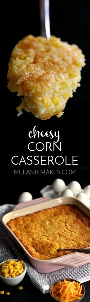 This comforting six ingredient Cheesy Corn Casserole takes just 10 minutes to prepare and will be requested for Sunday dinner, holiday dinners or any day ending with the letter Y.