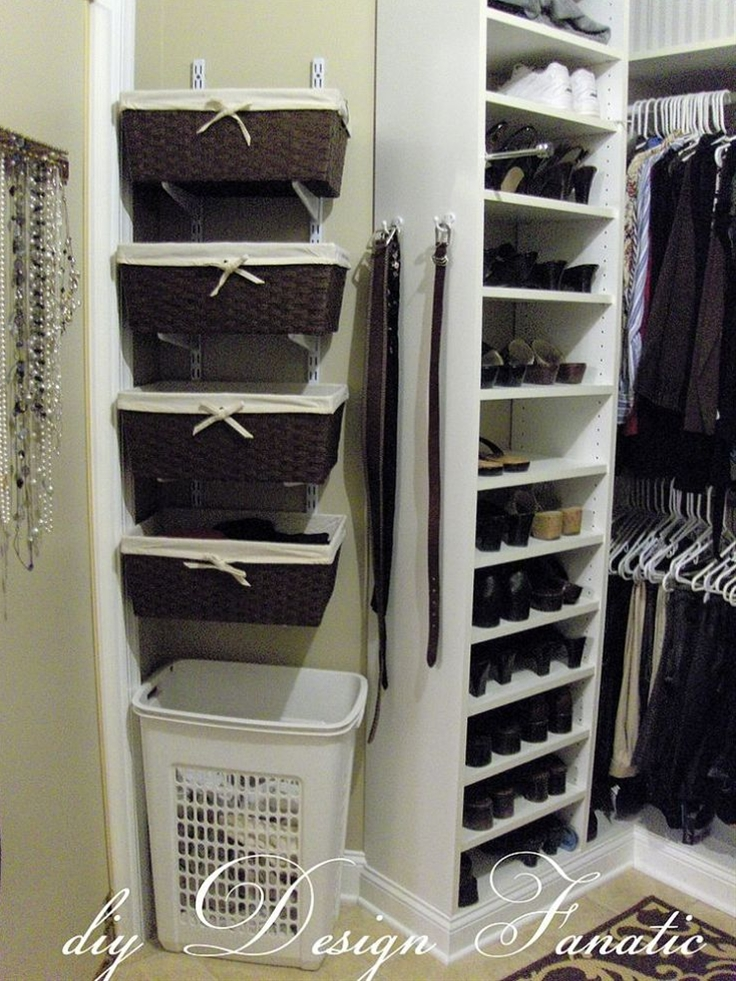 Customizing our master bedroom closet was the first project we had built after moving into our home. I was a custom closet designer at the time. Everyone's organization needs change over time and I needed more space, so we added a simple shelf track system(available at any big box hardware store) with baskets on the tracks.