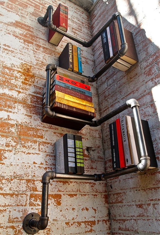 bookshelf out of pipe
