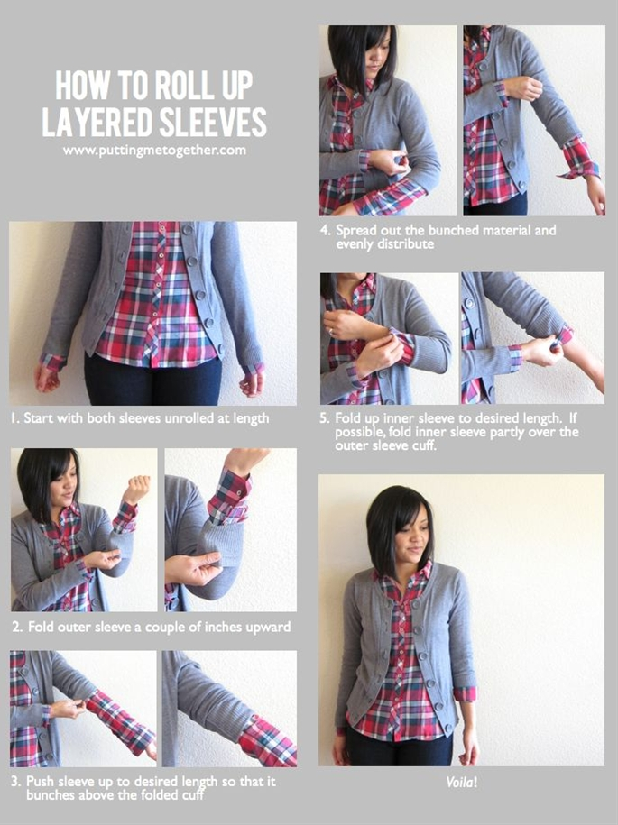 I love how she wears a lot of cardigans with button-downs, and rolls the sleeves. Currently I only have 3/4 sleeve cardigans -- I always hate that they're not long-sleeved, but I know when I do wear long-sleeves, there are times when I want to roll them up! Here's the solution!