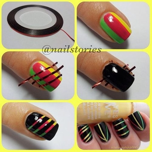nail art design with strips