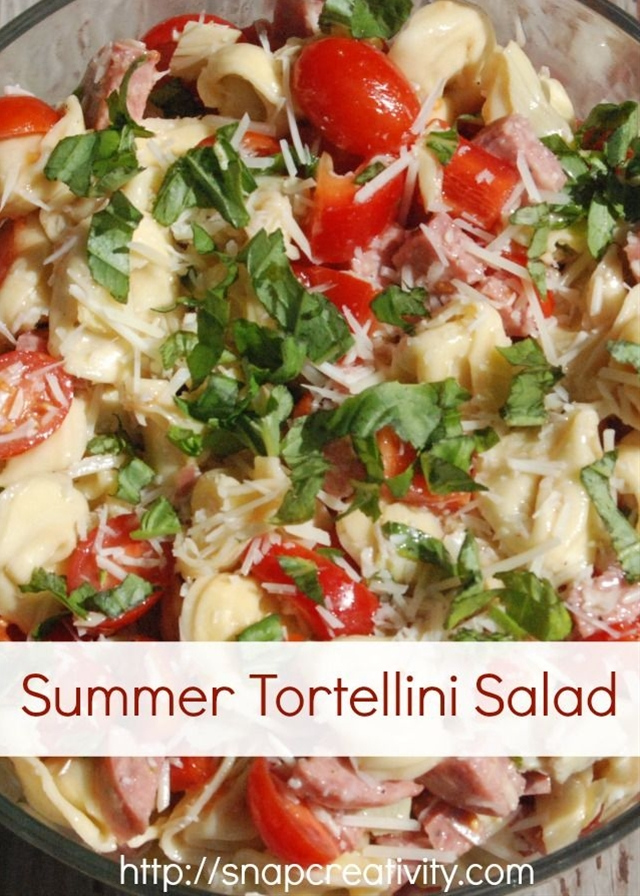 Ingredients: Cheese tortellini,  Peppers,  Grape tomatoes,  Summer sausage (you could use something stronger, I am just not a spice girl),  Parmesan cheese,  Basil,  Italian dressing.