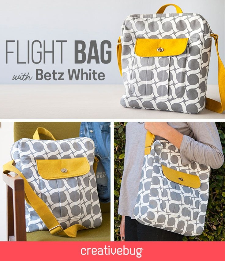 This structured bag offers great opportunities to learn all about bag construction and finishing.