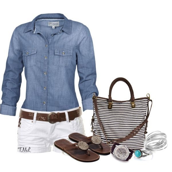 love the white shorts with   dark tan shoes