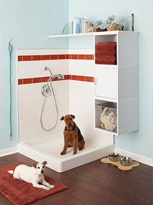 Fido isn't a car, so why wash him in the driveway? Let a corner of a mudroom or garage go to the dogs and you'll enjoy the perks of centralized canine storage