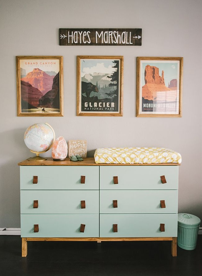 I was originally inspired by the national parks posters by Anderson Design Group. I loved the colors and the mid-century modern feel. I knew I wanted to incorporate a sort of Aztec feel, so I decided to stick with geometric shapes and lines. I saw an accent wall with sponge painted triangles on Pinterest that I fell in love with, so that was one of the first things we did to the room.