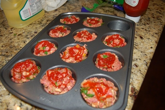 Easy individual meatloafs baked in a muffin pan.
