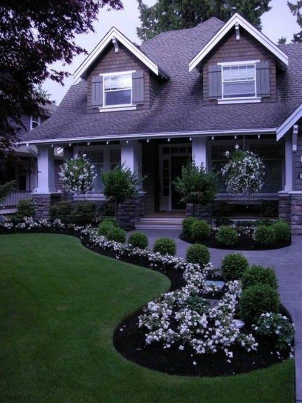 white flower landscape design.