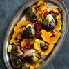 Maple Syrup Roasted Delicata Squash and Brussels Sprouts