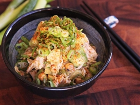 Chicken Salad With Avocado, Corn, and Miso Dressing