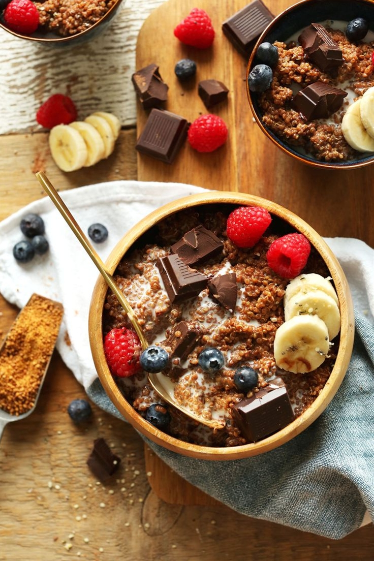 7-ingredient dark chocolate quinoa breakfast bowl naturally sweetened with maple syrup and infused with cocoa powder. A healthy, plant-based breakfast.\n\n Ingredients\n QUINOA BOWL\n 1 cup (172 g) uncooked white quinoa\n 1 cup (240 ml) unsweetened almond milk, plus more for serving\n 1 cup (240 ml) coconut milk (light canned, or the beverage in a carton)\n pinch sea salt\n 2 Tbsp (10 g) unsweetened cocoa powder\n 2-3 Tbsp (30-45 ml) maple syrup or coconut sugar optional: 1/2 tsp pure vanilla extract\n 3-4 squares vegan dark chocolate, roughly chopped\n\n FOR SERVING optional\n Mixed berries\n Sliced banana\n Coconut sugar\n Hemp seeds or chia seeds
