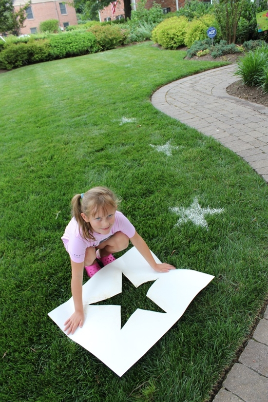 We made stars on our lawn with flour and a home made stencil for my son's Rock Star 3rd Birthday party. Also planning to do it for the Fourth of July. It was inspired by a picture I saw on Pinterest pinned from pinkandgreenmama.blogspot.com