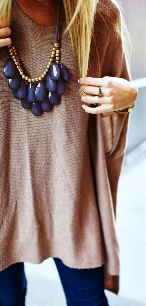 Chunky necklace & oversized sweater. You can sort of wear this look in summer, spring, fall or winter depending on where you are!